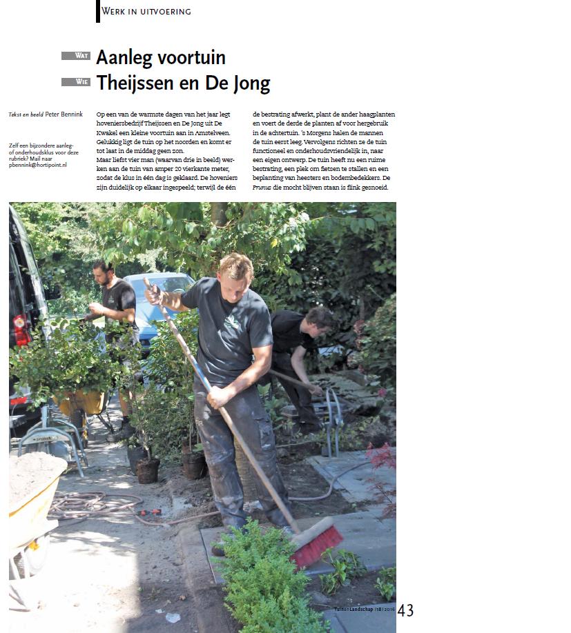 Artikel vakblad Tuin & Landschap